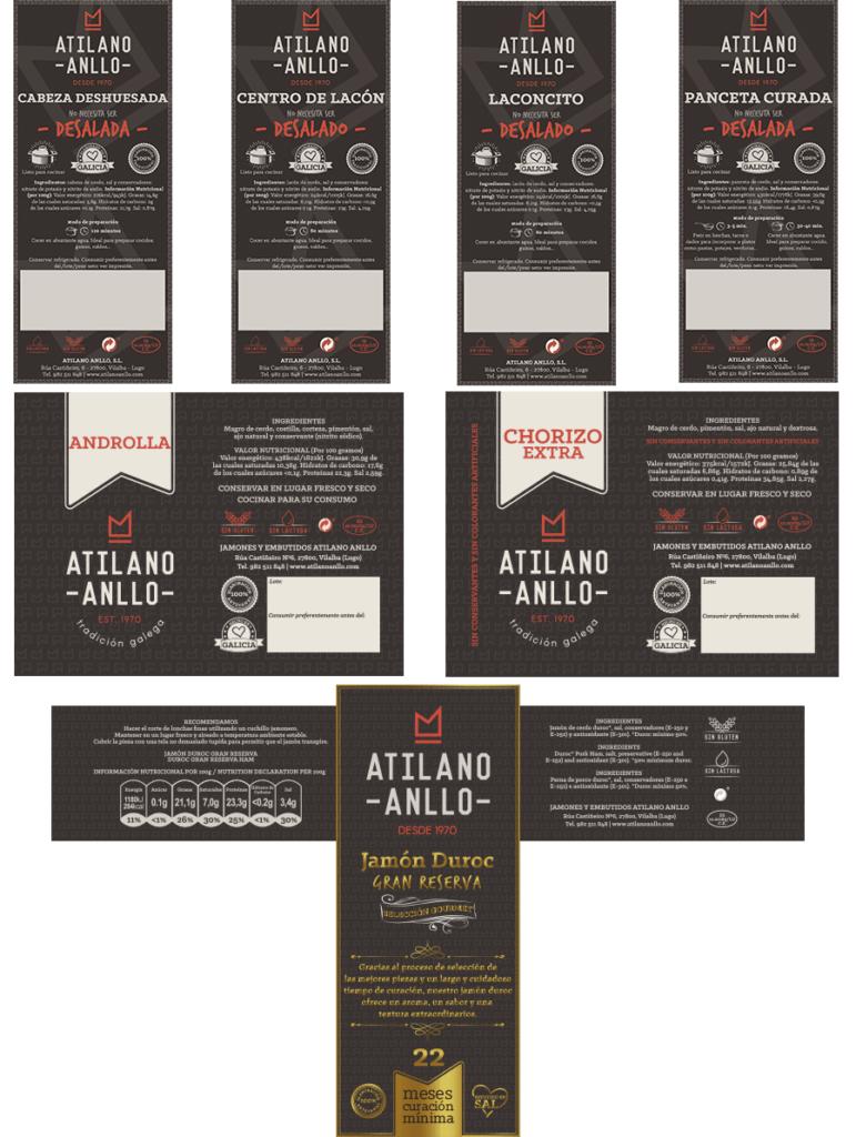 Diseño gráfico etiquetas Atilano Anllo