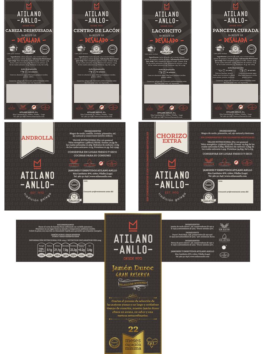 Deseño gráfico etiquetas Atilano Anllo