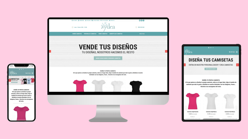 Diseño tienda online Zydea Camisetas