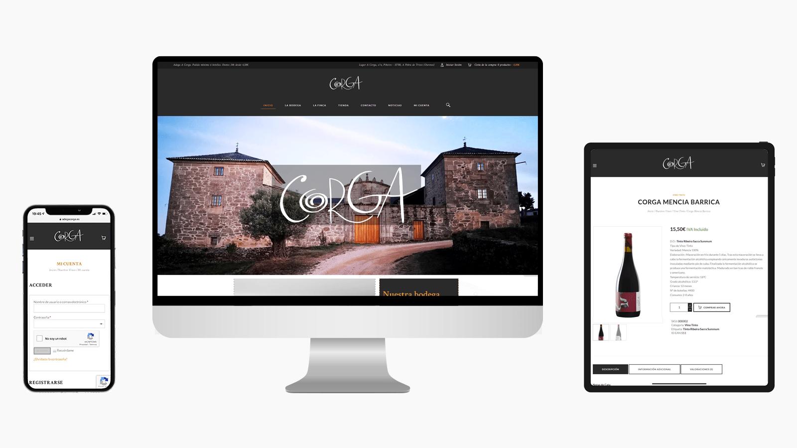 Diseño tienda online Adega A Corga